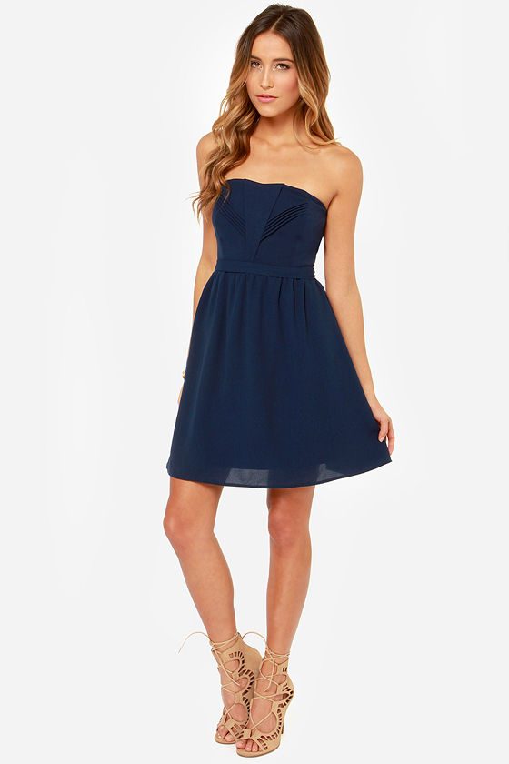 Pretty Navy Blue Dress - Strapless Dress - Darted Dress - $45.00