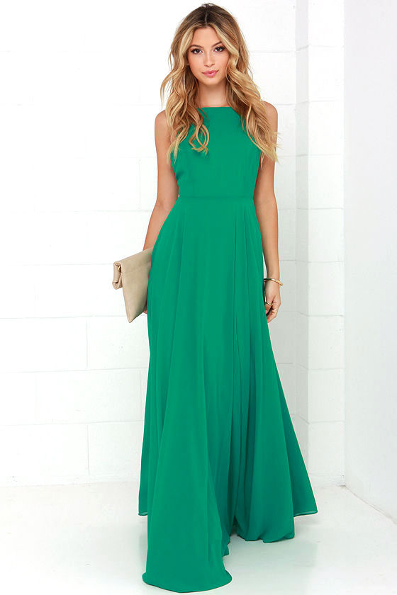 Beautiful Green Dress - Maxi Dress - Backless Maxi Dress - $64.00