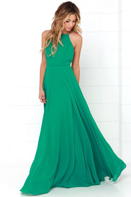 Beautiful Green Dress Maxi Dress Backless Maxi Dress