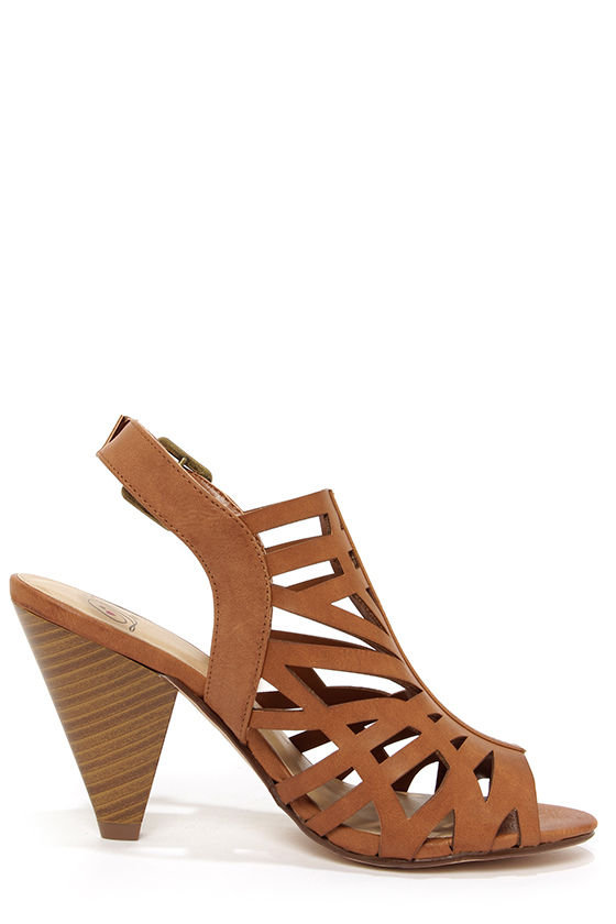 My Delicious Bolden Tan Laser Cut Cone Heels at Lulus.com!