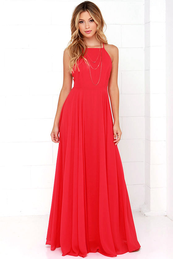 Beautiful Red Dress - Maxi Dress - Backless Maxi Dress - $64.00