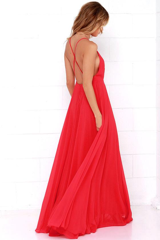 Beautiful Red Dress - Maxi Dress - Backless Maxi Dress - $64.00