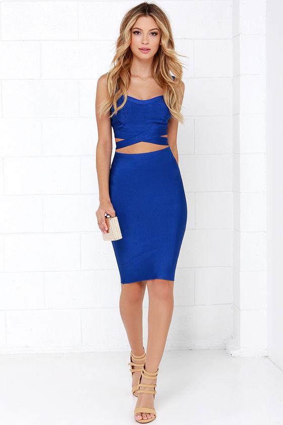 41a04e2a0052 Sexy Blue Two-Piece Dress - Bandage Dress - Bodycon Dress -  78.00