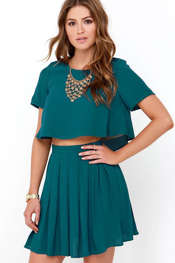a8497e2da3298 Cute Dark Teal Dress - Two-Piece Dress - Skater Skirt - $62.00