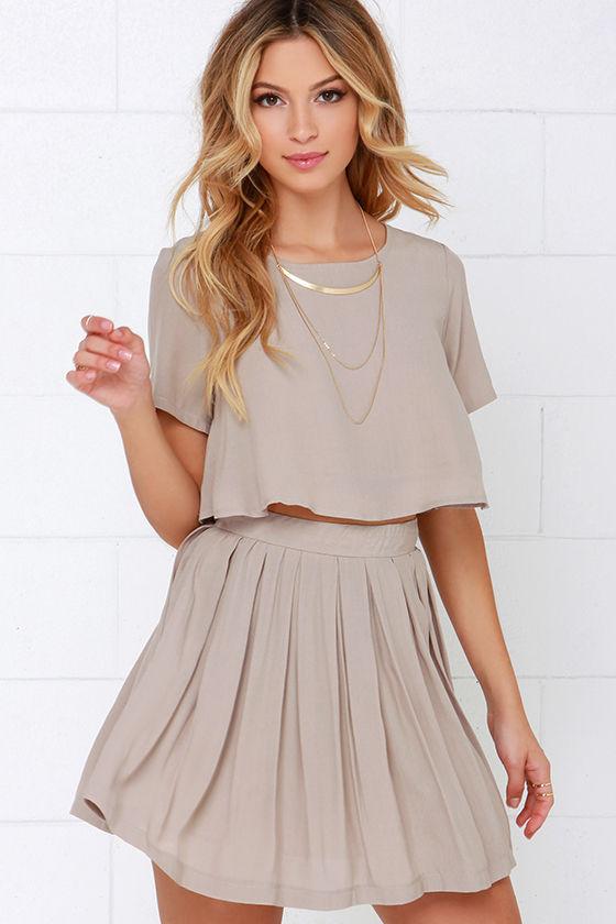 f9e9557b0653 Cute Beige Dress - Two-Piece Dress - Skater Skirt -  62.00