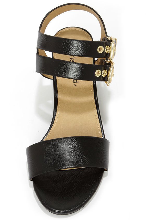 City Classified Speed Black and Gold Wedge Sandals at Lulus.com!
