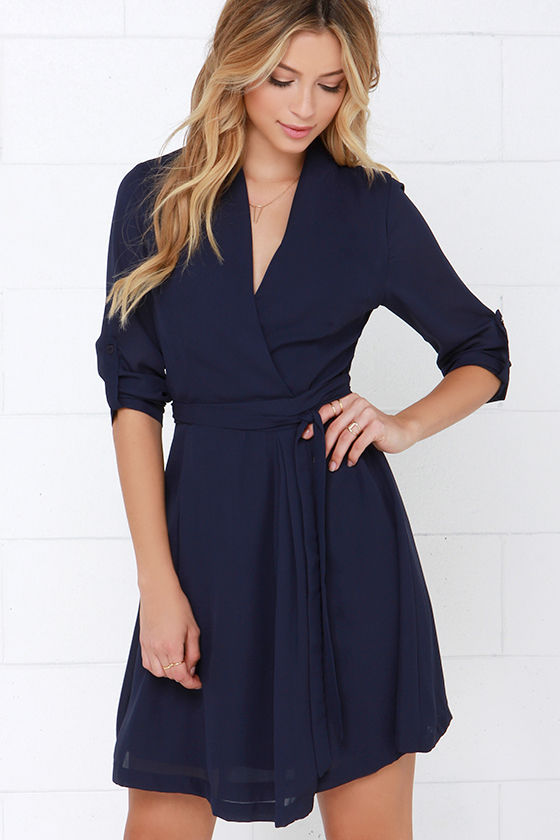 Cute Navy Blue Dress - Long Sleeve Dress - Wrap Dress - $45.00