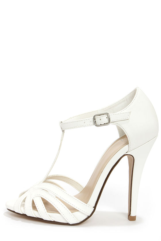 Lovely White Heels T Strap Heels Dress Sandals 25 00