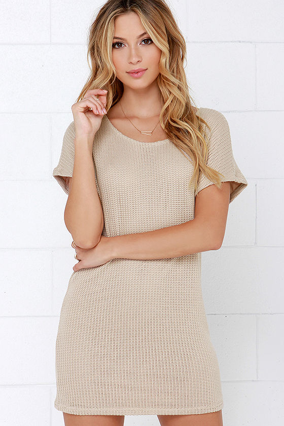 Beige Dress - Sweater Dress - Short Sleeve Dress - $54.00