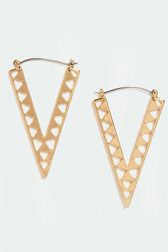 Newfangled Angle Gold Earrings at Lulus.com!