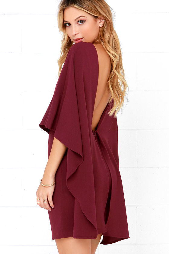 Best is Yet to Come Burgundy Backless Dress 1