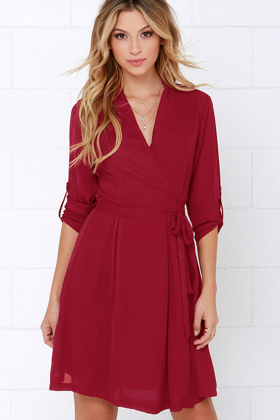 ff81f9cce7b8 Cute Wine Red Dress - Long Sleeve Dress - Wrap Dress -  45.00