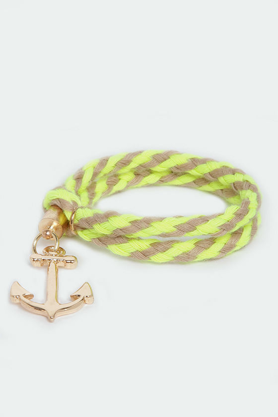 Ocean Lore Beige and Neon Yellow Bracelet at Lulus.com!
