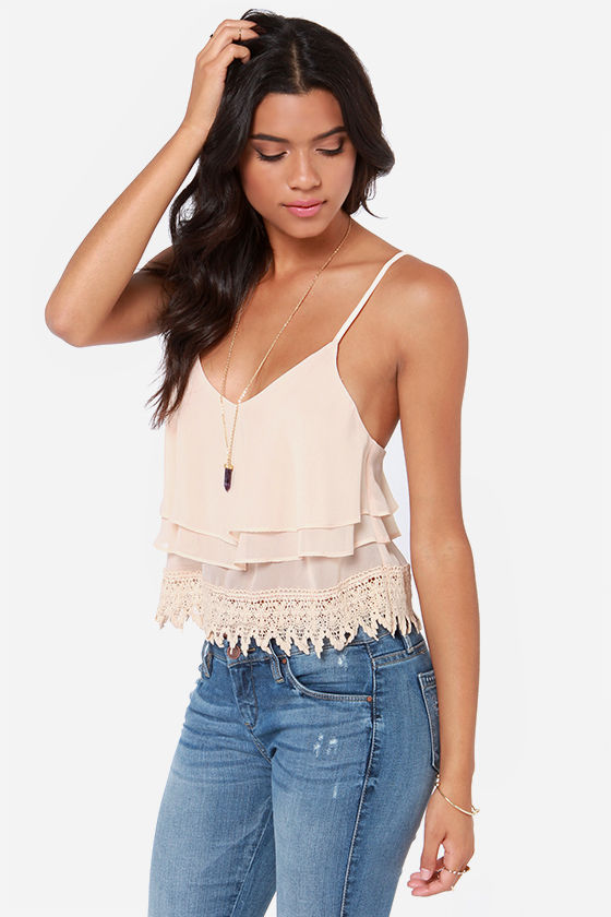 Ruffle Time Peach Tank Top at Lulus.com!