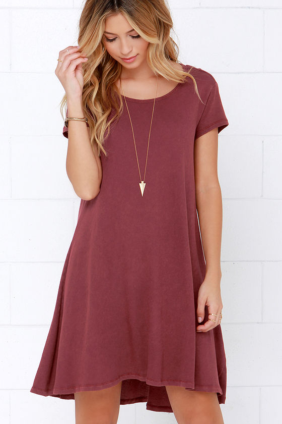 Maroon Dress - Swing Dress - Short Sleeve Dress - $44.00