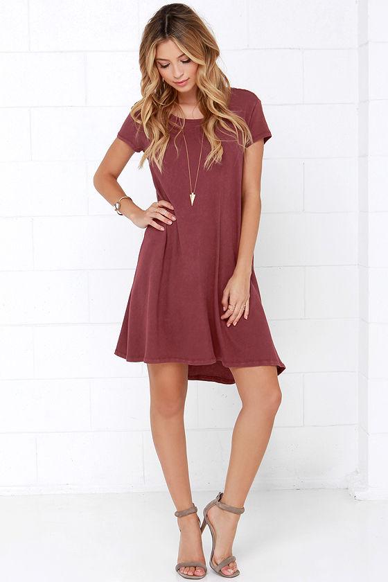 4b298dcf651ac Maroon Dress - Swing Dress - Short Sleeve Dress - $44.00