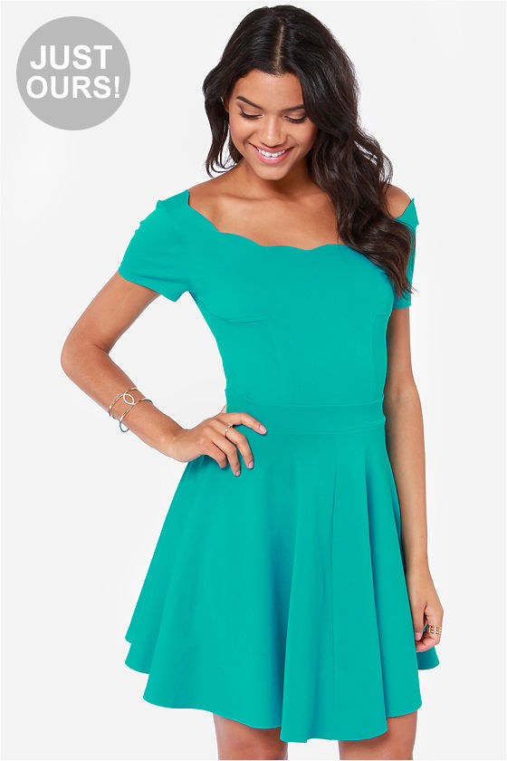a4b4cccb744a0 Cute Teal Dress - Skater Dress - Fit and Flare Dress - $53.00