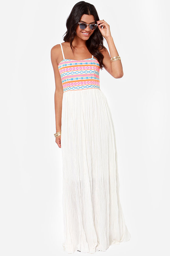 Got What it Takes Embroidered Ivory Maxi Dress at Lulus.com!