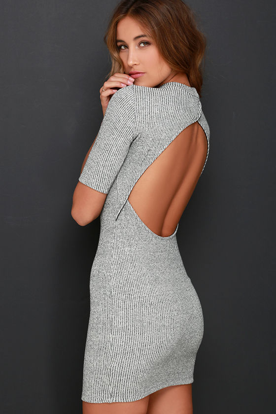 Cute Heather Grey Dress - Sweater Dress - Bodycon Dress - $49.00
