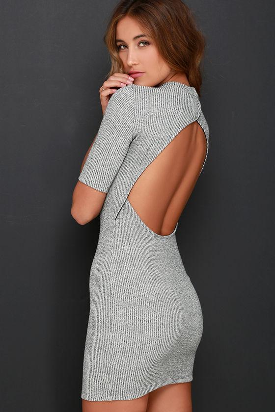 Cute Heather Grey Dress - Sweater Dress - Bodycon Dress - $49.00
