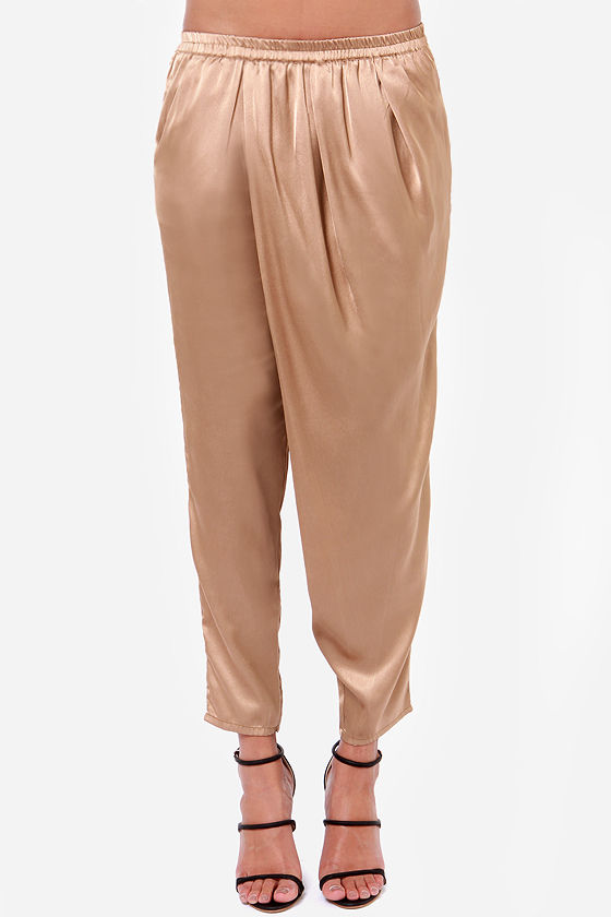 Billabong Wild Air Brown Satin Harem Pants at Lulus.com!