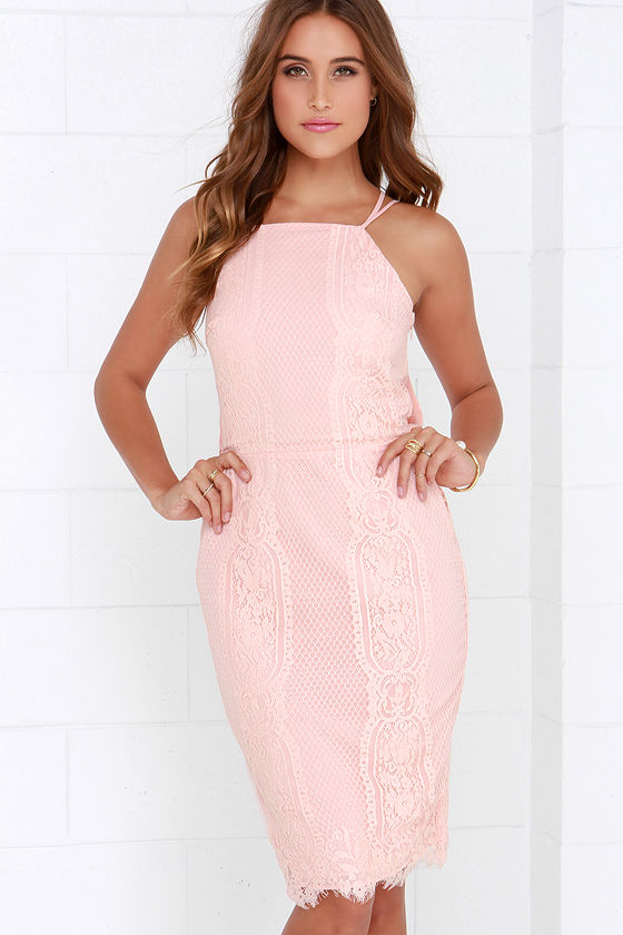 Endlessly Enchanting Peach Lace Midi Dress at Lulus.com!