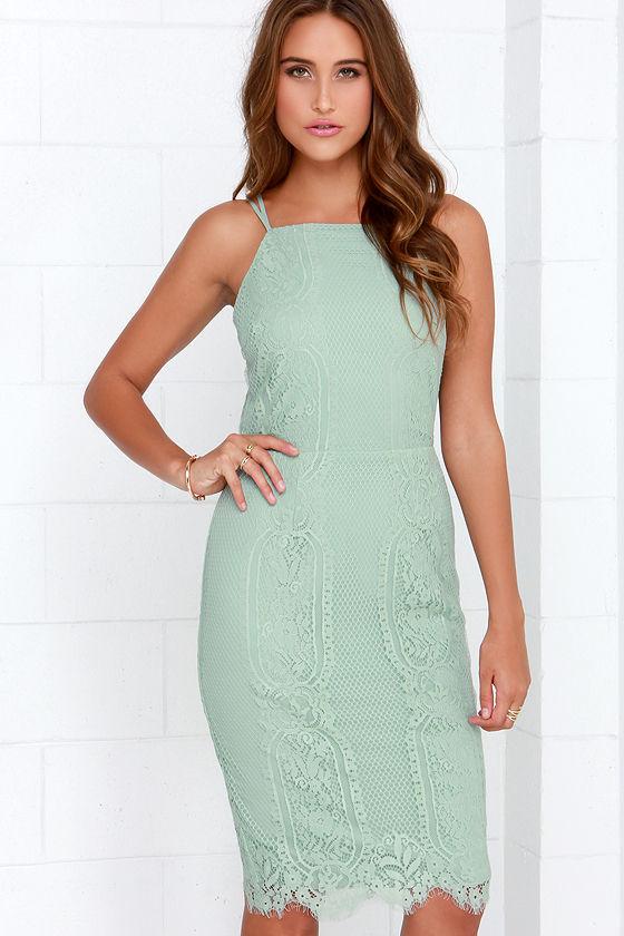 Green lace midi dress