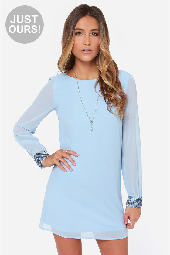 Cute Light Blue Dress - Beaded Dress - Long Sleeve Dress - $59.00
