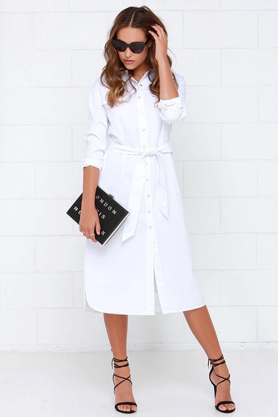 e5e460e87c32e8 Chic White Shirt Dress - Collared Dress - Button-Up Dress - $99.00