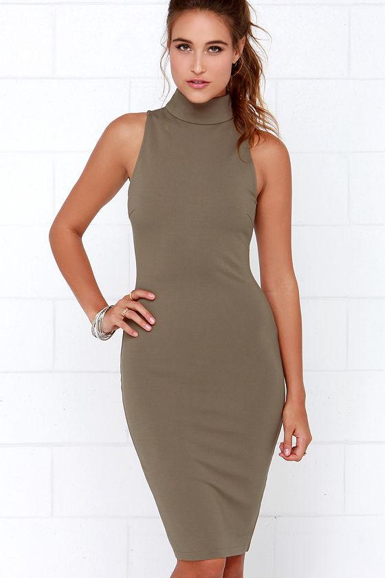 e3ddf39ace46 Elliatt Modern Dress - Khaki Dress - Midi Dress - Bodycon Dress - $111.00