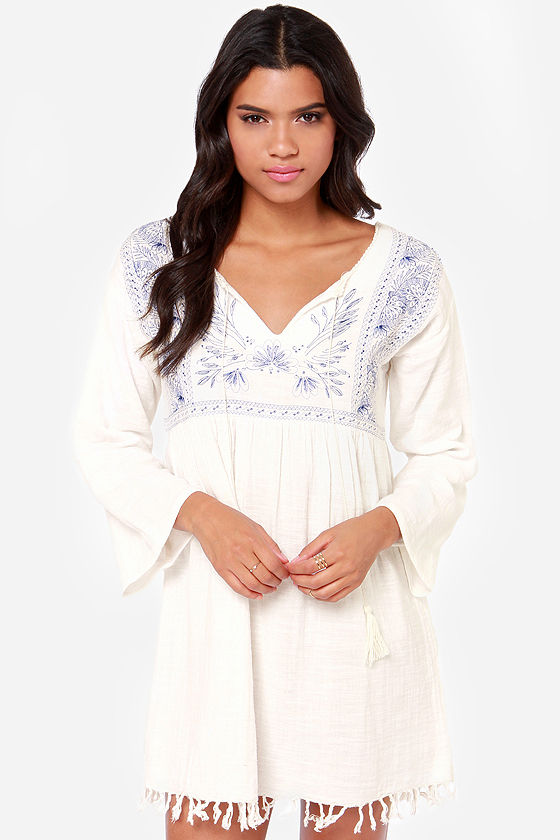 Billabong Without Looking Embroidered Ivory Dress at Lulus.com!