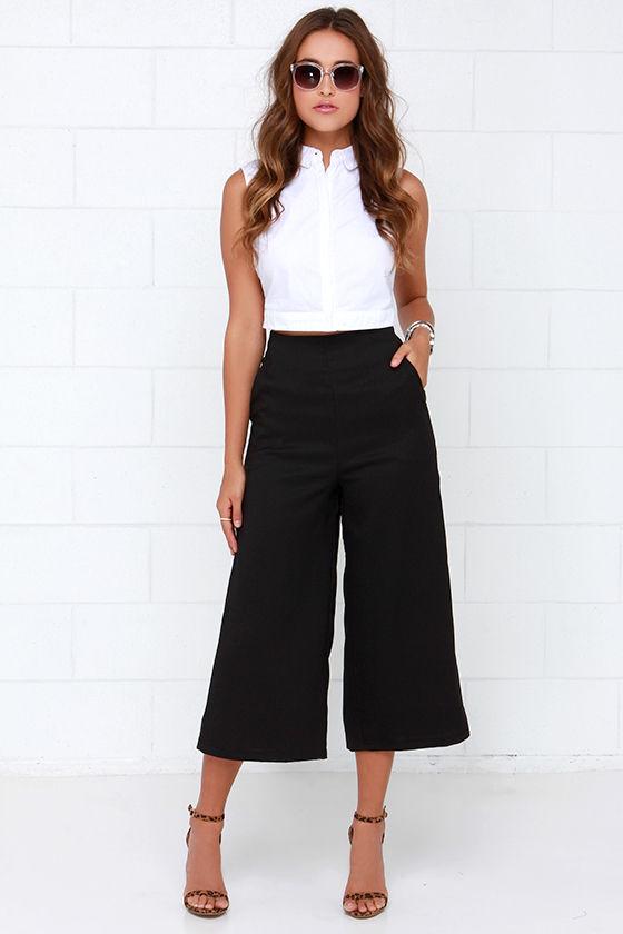 Black Culottes - Black Pants - Wide Leg Trousers - $44.00