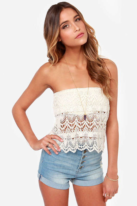 Sexy Cream Top Strapless Top Crochet Top Lace Top 3400