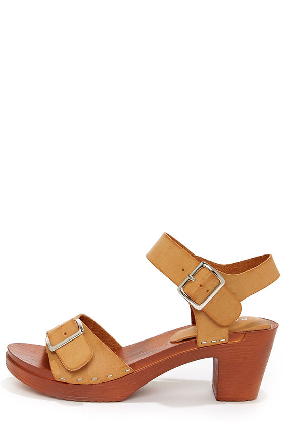 Bamboo Woody 02 Tan Burnished High Heel Sandals at Lulus.com!