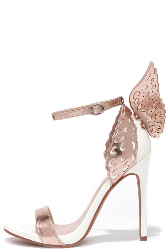 4614addea6d Ooh You're an Angel White and Rose Gold Winged Heels