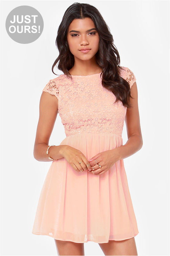 Beautiful Crochet Dress - Peach Dress - Skater Dress - $56.00