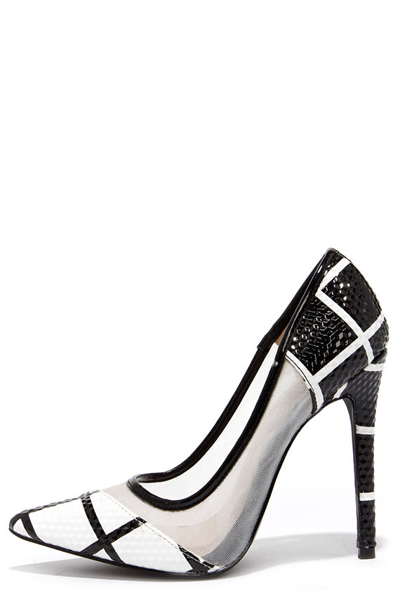Cute Black and White Pumps - Pointed Pumps - $36.00