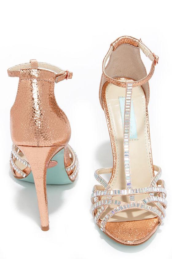8fc563100 Pretty Rose Gold Heels - Rhinestone Heels - Dress Sandals -  109.00