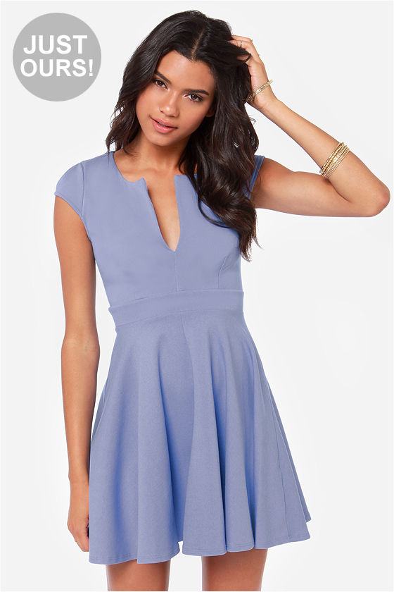 Cute Periwinkle Dress - Blue Dress - Skater Dress - $45.00