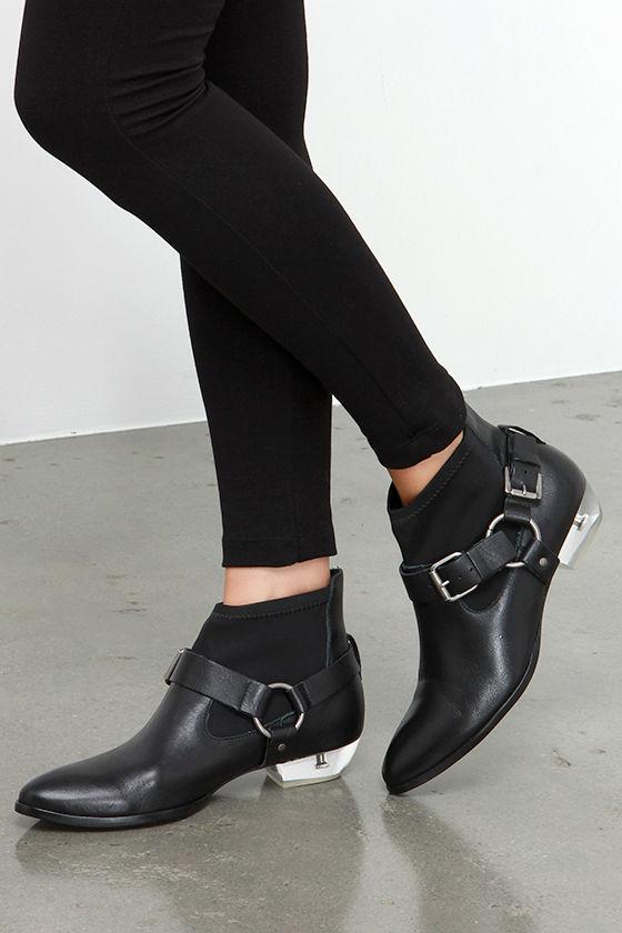 d124c443380 Cute Black Booties - Leather Booties - Lucite Heel Boots - Harness ...