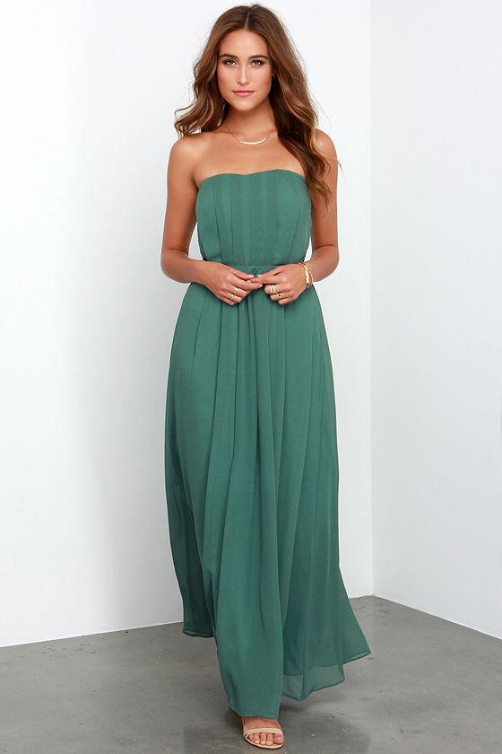Dark Sage Green Dress - Maxi Dress - Strapless Gown - $99.00