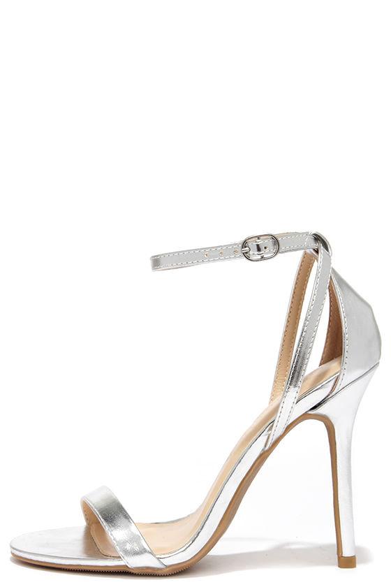 33831c99d36a Cute Silver Heels - Ankle Strap Heels -  22.00