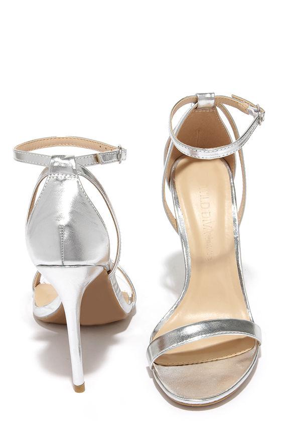 Cute Silver Heels - Ankle Strap Heels - $22.00