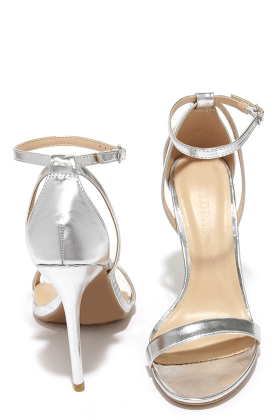 9573f5ae9fb Cute Silver Heels - Ankle Strap Heels -  22.00