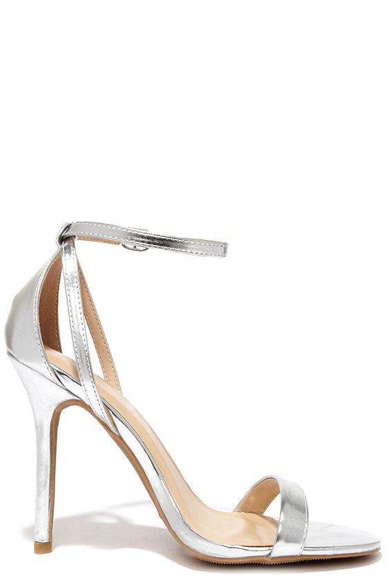 cute silver heels ankle strap heels 2200