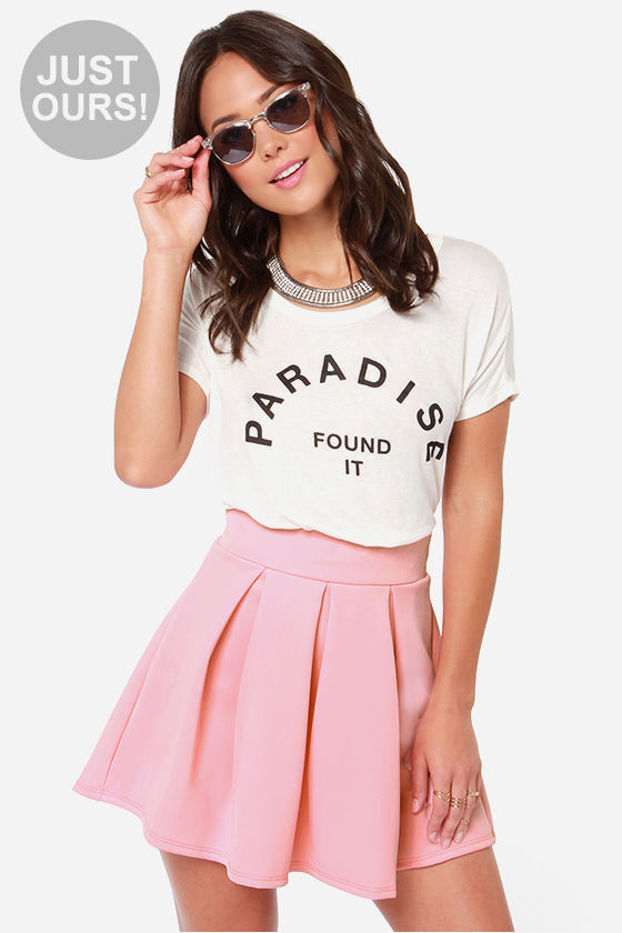 Cute Pink Skirt - Skate Skirt - Pleated Skirt - $31.00