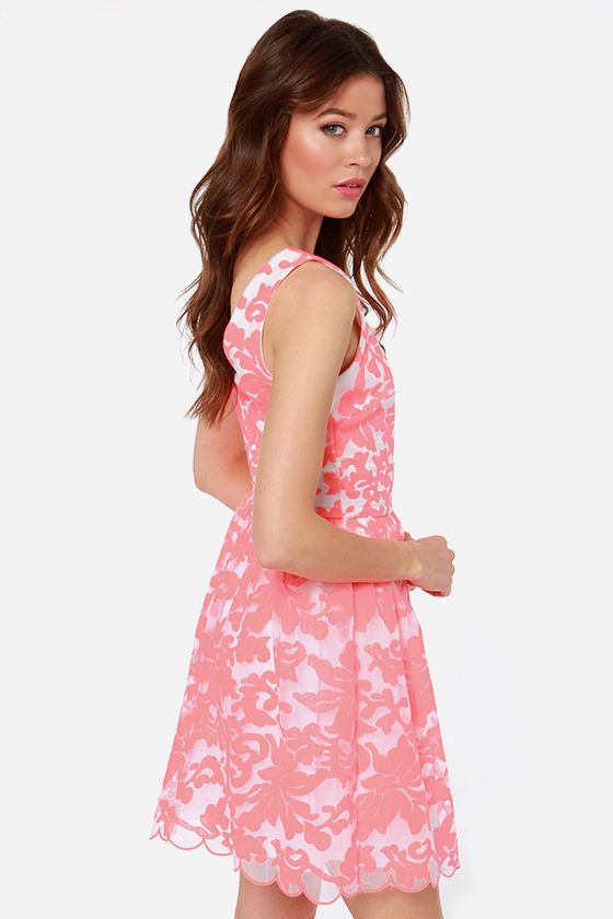 Extrav-Organza Neon Coral Print Dress at Lulus.com!