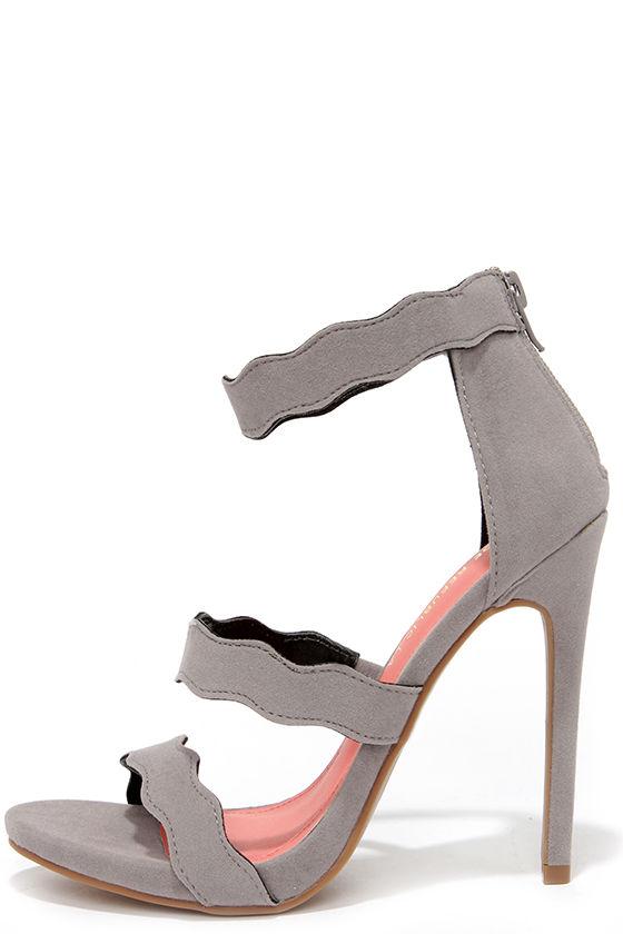 7e2202e0455087 Cute Grey Heels - Dress Sandals - Scalloped Heels - Triple Strap Heels -   36.00