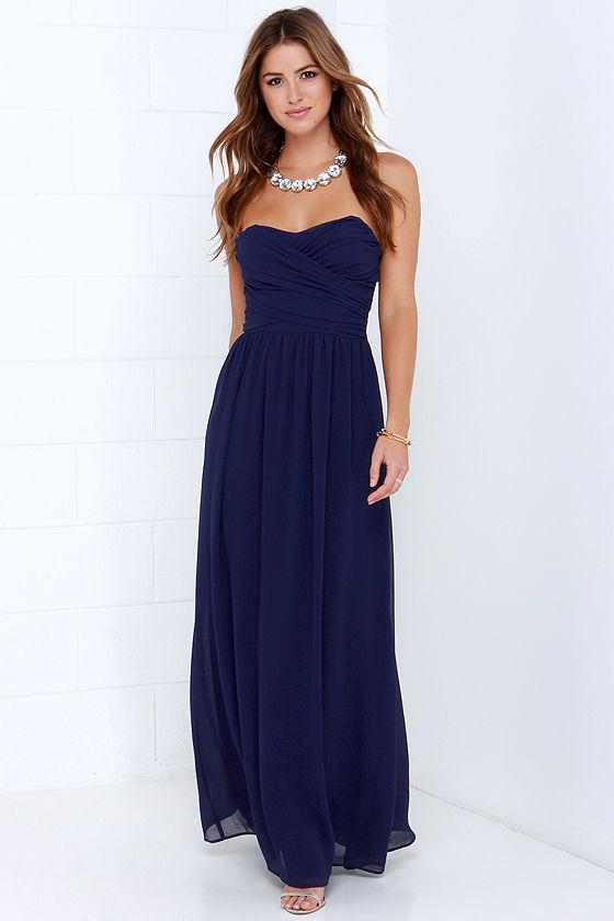 Royal Blue Strapless Dresses