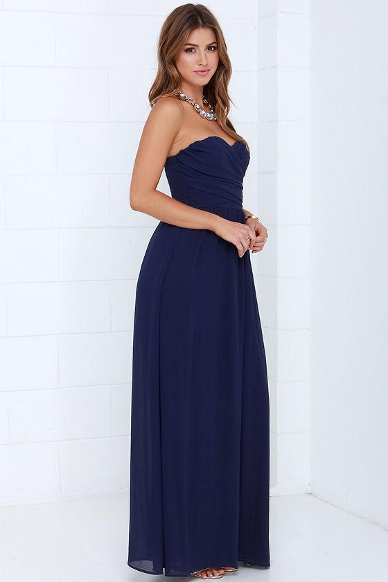 Lovely Navy Blue Dress - Strapless Dress - Maxi Dress - $68.00
